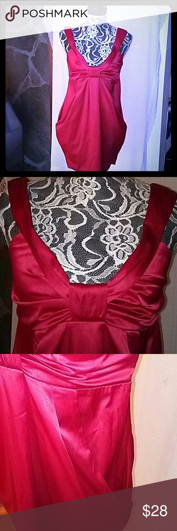 "MIDI DRESS Lustrous red satin in midweight cotton/polyester/spandex fashions a fun sleeveless dress. Features include: holdover ""V"" neckline from front and over shoulder to center back; spaghetti straps and bra strap threaders under shoulder portion of collar; gathered center bust;  pleated skirt front and back; draped front pocket effect panel on skirt; pegged hem; center back zipper closure. Measures: 30"" underbust; 32"" long from high shoulder to hem. Flattering easy fit; sassy yet classy…"