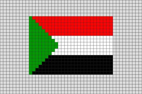 Flag of Sudan Pixel Art