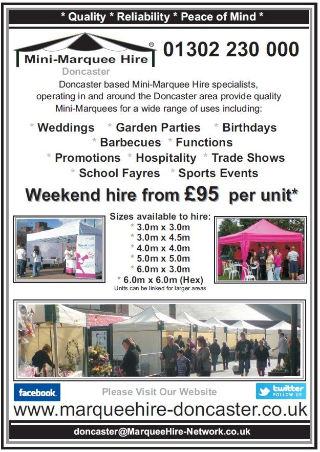 Mini-Marquee Hire Doncaster Leaflet - marquee hire prices, size guide, and loads more info