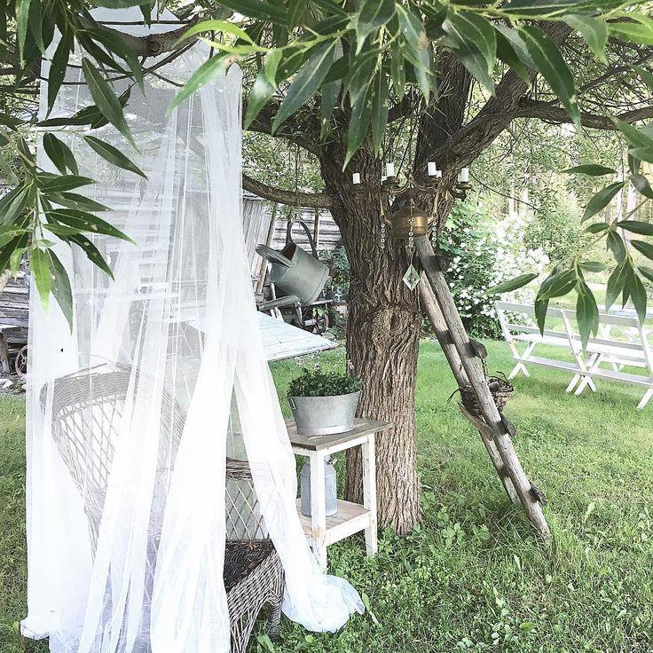 Gjorde mig en ljuskrona av en gammal lampa, pyntade den med gamla kristaller och nu hänger den där under pilträdet. Längtar att tända ljusen nu när det börjar bli mörkt på kvällarna här uppe i norr✨ Made me a chandelier of an old lamp✨ #pilträd #ljuskrona #kristaller #trädgård #garden #chandelier #lantligt #lantliv #countrylife #countryliving