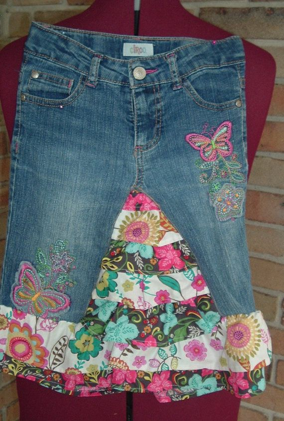 UpCycled Jeans Skirt Girls by THRefashions on Etsy, $15.00