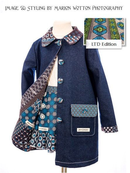 LIMTED EDITION Girls Winter Denim/ African by JenniDezignsClothing