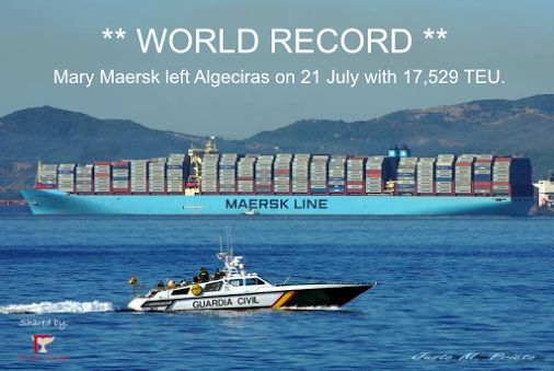 A World Record! Maersk Line's Mary Maersk left Algeciras on 21 July (on route to Asia) with 17,529 TEU.