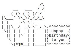 Happy Birthday ASCII Text Art