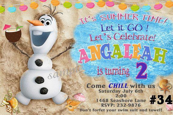 Frozen Summer  Invitation, Pool Party, Olaf, Digital File - YOU PRINT - Disney Frozen invitation on Etsy, $8.95