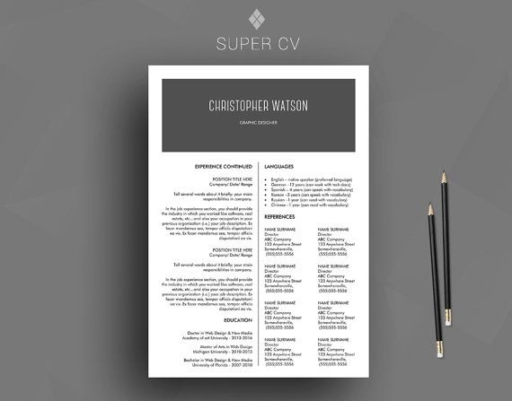 17 best Resume template \/ CV template images on Pinterest New - professional reference list