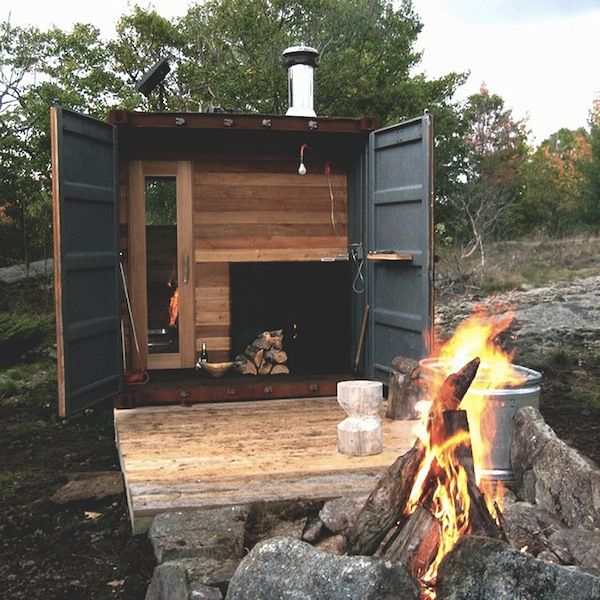 // shipping container sauna