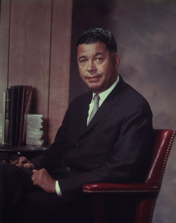 United States Senator Edward William Brooke, III (October 26, 1919 - January 3, 2015) was elected to the Senate from Massachusetts in 1966 and served until 1979. The Washington, D.C. native was the first African American elected to the Senate by popular vote. Scurlock Studio, photographers, 1964