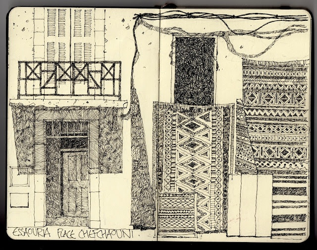 Ian Sidaway - Fine Line sketchbook drawing of Moroccan rugs in Chefchaouen
