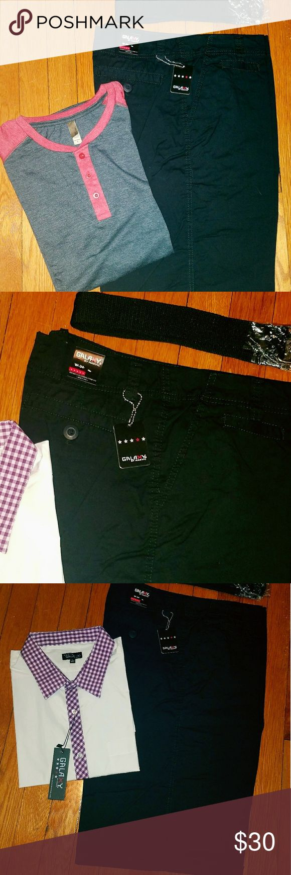 Men's black shorts Brand new.  Size 34 waist.  Comes with fabric belt. Galaxy Shorts Flat Front