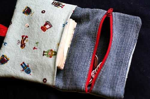 Kid's wallet with zip pouch for change