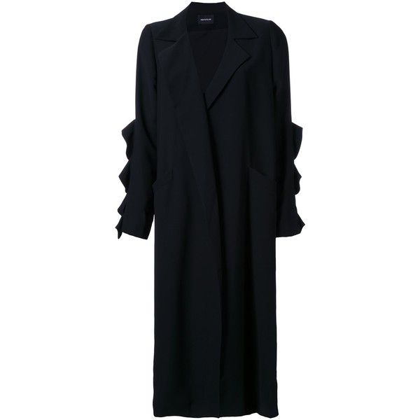 Elaidi Long Overcoat (£440) ❤ liked on Polyvore featuring black