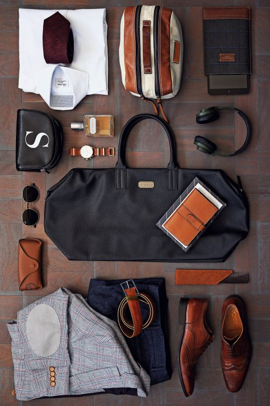Mens Style, Menswear, Mens Fashion, Tavel Outfit, Fancy, Dapper, Business Travel, Meetings, Leather Bag, Black Leather, Travel Style, Comfort, Aramis, Brown Shoes, Brown Leather, Flatlay, Accessories