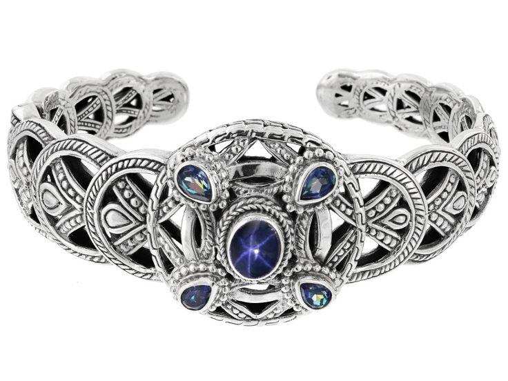 Artisan Collection Of Bali(Tm) Blue Star Sapphire, Sheer Luck(Tm) Mystic Topaz(R) Silver Bracelet