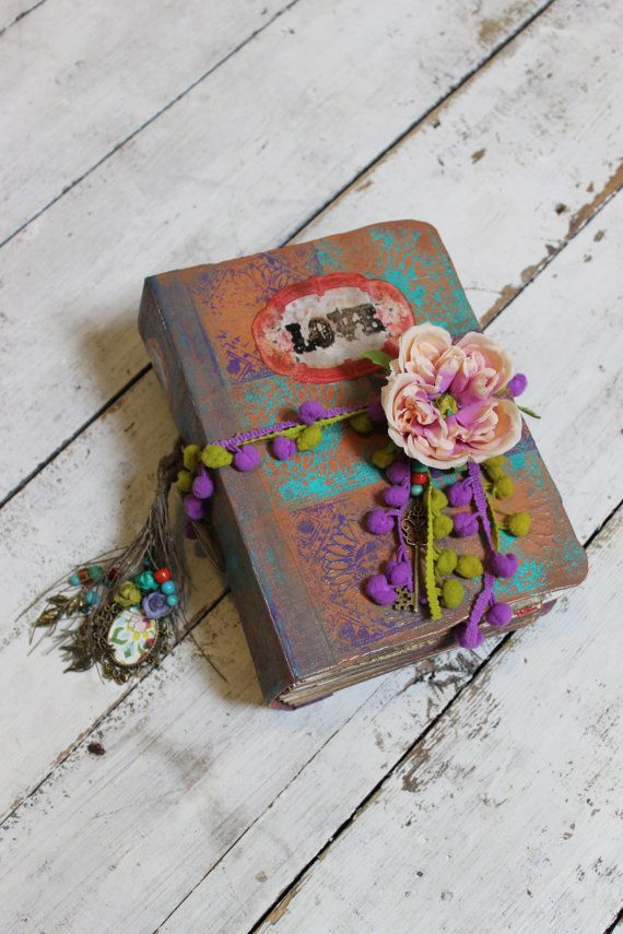 Boho Love  Wedding Guest Book OR Scrapbook by LotusBluBookArt, £110.00