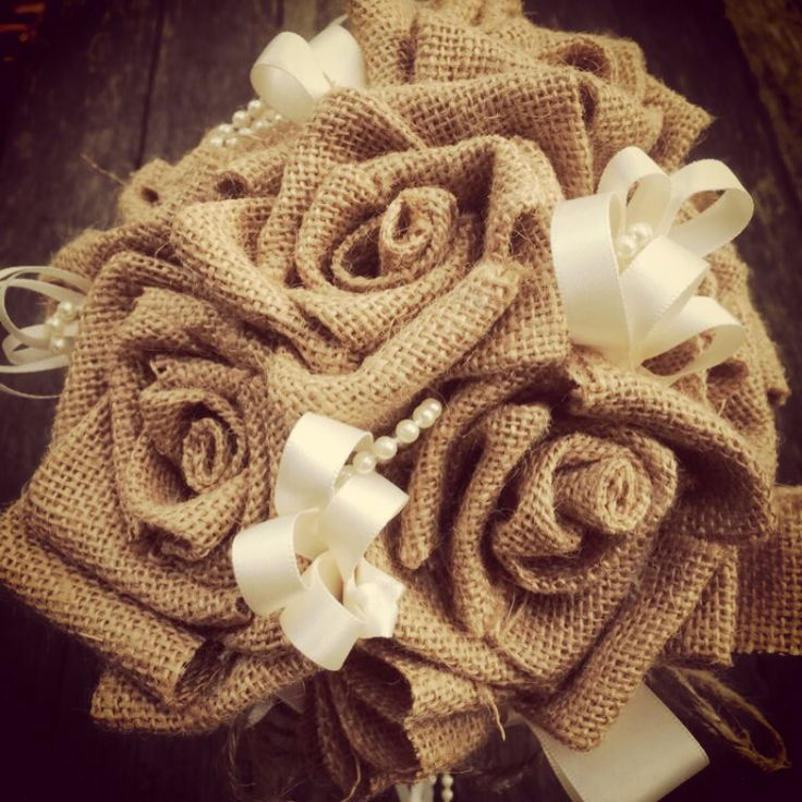 Hessian rose wedding bouquet, holding 8 roses, dressed with twine, pearls and ribbon