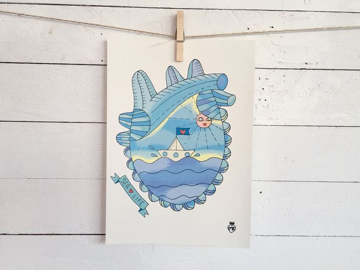 Sea heart - Sea Cat- A4 Size poster - Digital Print- 10 euro Shipping cost exluded - for info: info@enricamannari.com
