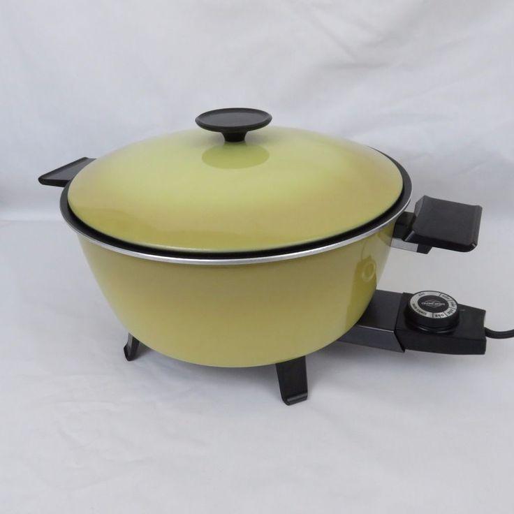 Vtg West Bend Country Kettle Electric Dutch Oven Cooker 5 Qt Pot Harvest Gold