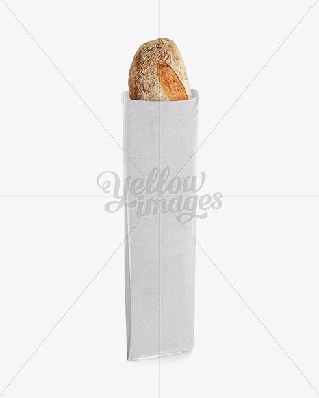 French Bread in White Paper Bag Mockup