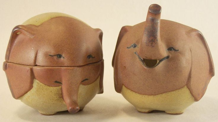 Vintage UC CTI Japan Pottery Elephant Sugar Bowl and ...
