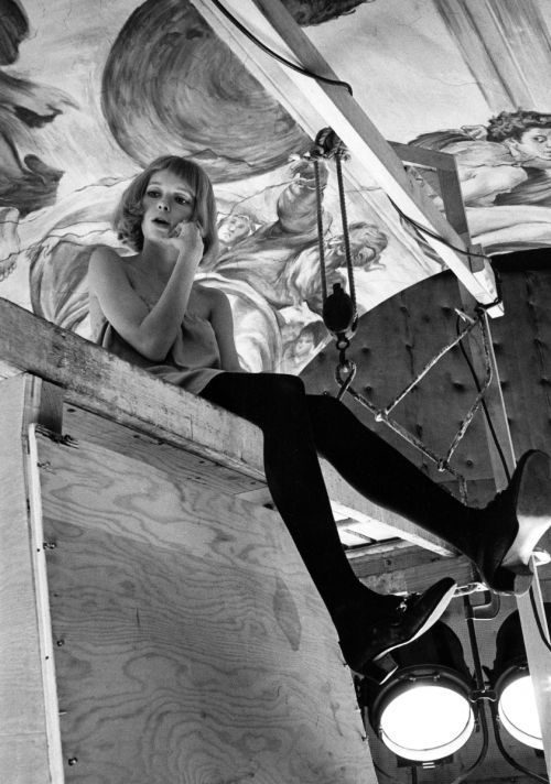 Mia Farrow on the set of Rosemary's Baby directed by Roman Polanski, 1968. Photo by Robert Willoughby