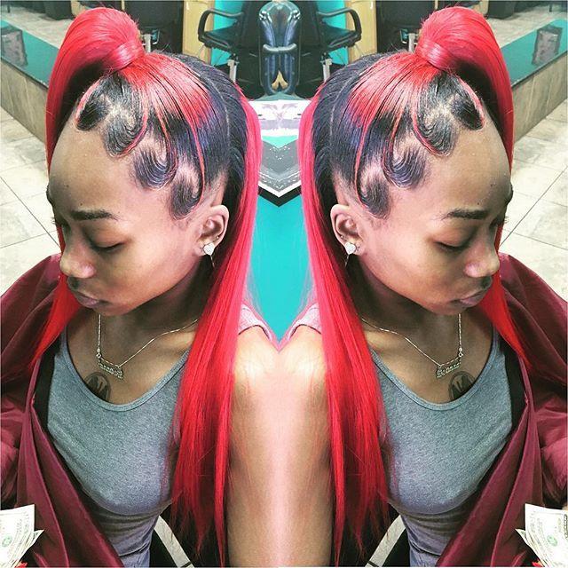 red & black ponytail