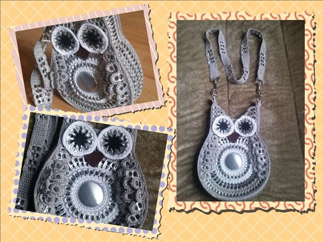 Owl purse made of soda tabs & bottom of can (pinned from blog in Spanish)