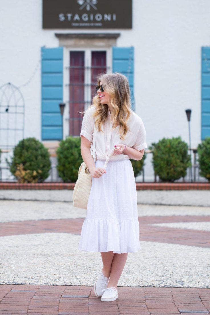 Blush and White Stripe Tie Front Top // White Midi Skirt