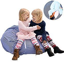 EXTRA LARGE Stuffed Animal Bean Bag Storage – Premium Childrens Plush Toy Organizer Creative Solution for Kids (Blue) by Buddy Plush
