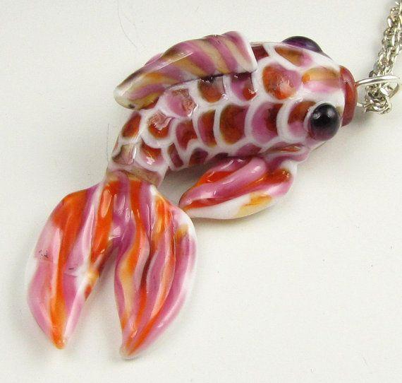 Japanese Koi Fish Pendant Pink & Orange Lampwork by BethKnappTyner