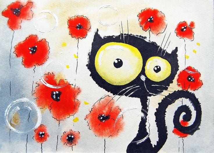 153 Кот в маках. Рисунок Кати Чуйковой