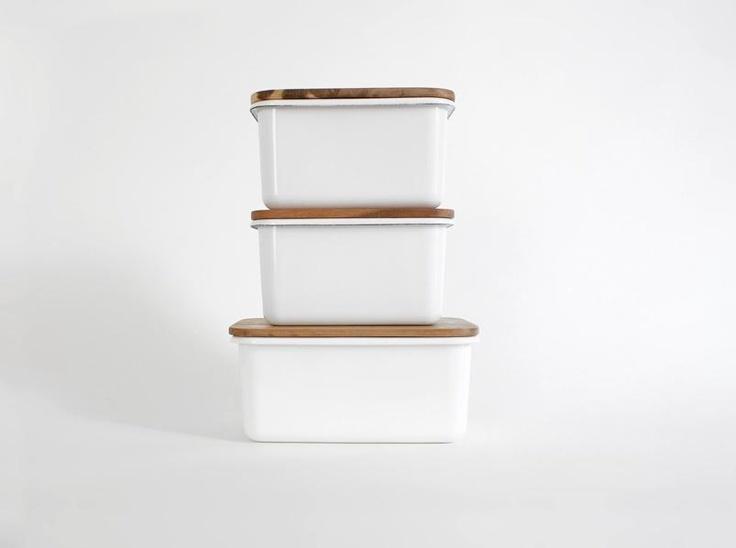 Enamel Storage Boxes /
