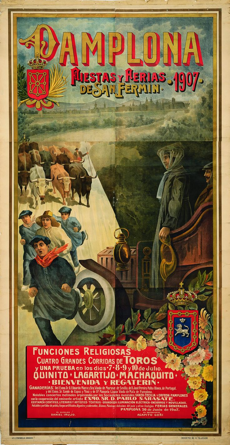 Cartel de los Sanfermines de 1907 - Ferias y fiestas de San Fermín, Pamplona.