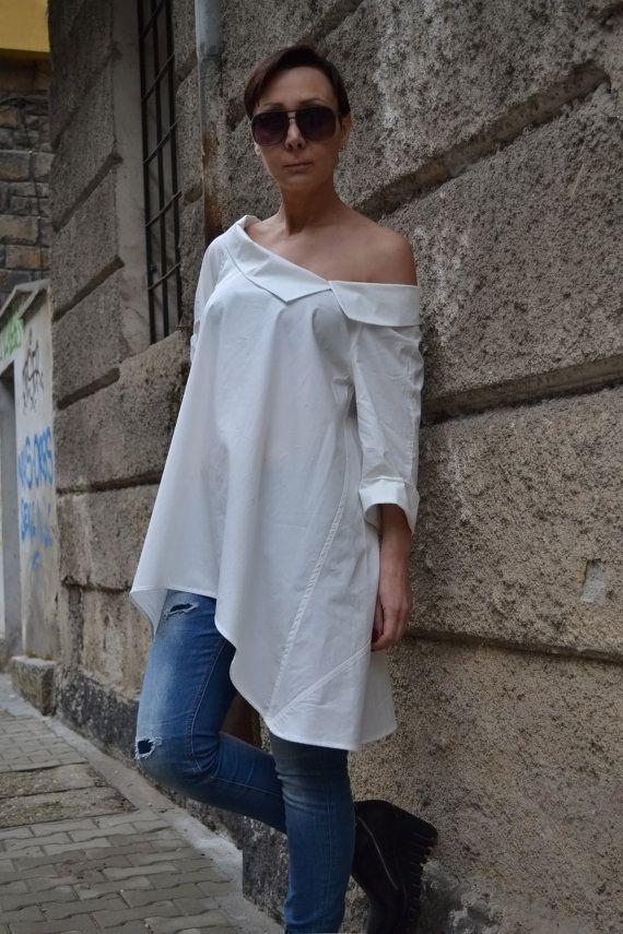 T-Shirt camicia bianca camicia di cotone sciolto di CARAMELfs