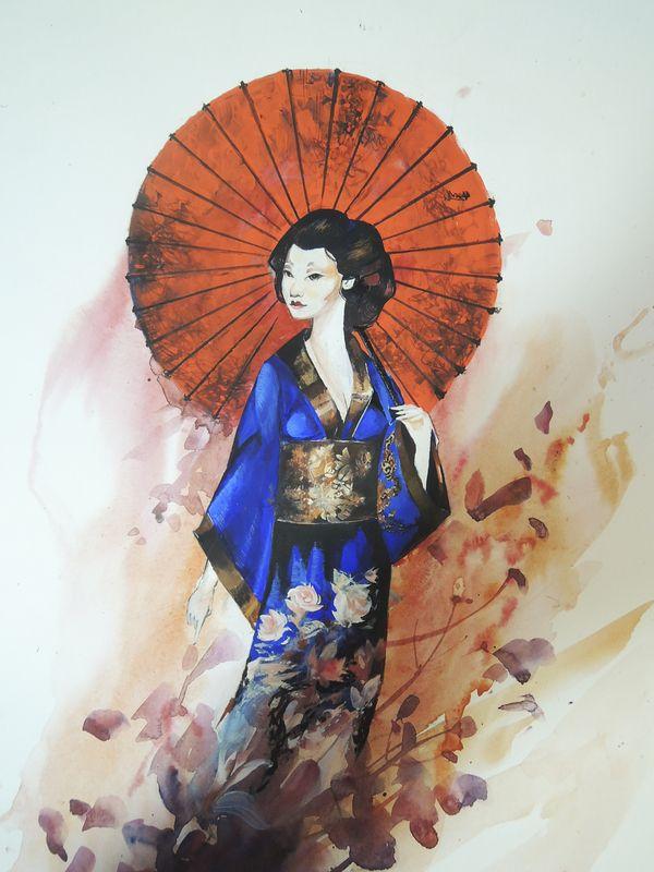 Гейша гейша, рисунок, графика, арт, япония, акварель, темпера, длиннопост