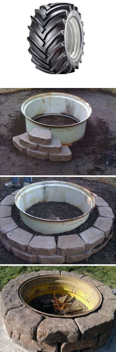 Tractor Wheel Fire Pit... because who doesn't have an old tractor tire just lying around.