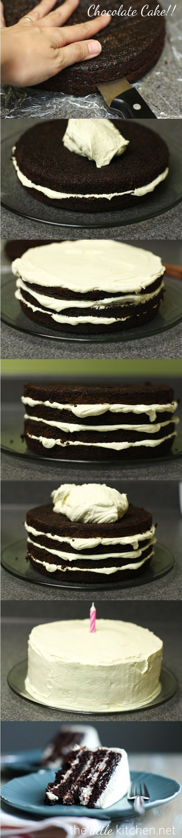 The Best Chocolate Cake Ever with Pudding Frosting from thelittlekitchen.net