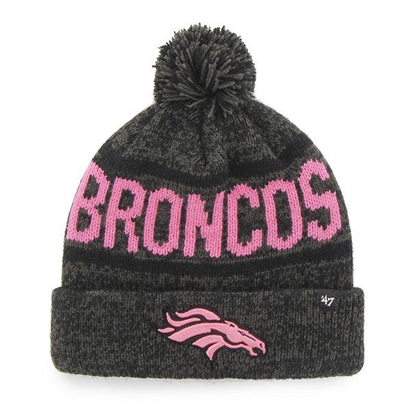 Denver Broncos Womens 47 Brand Pink Charcoal Beanie