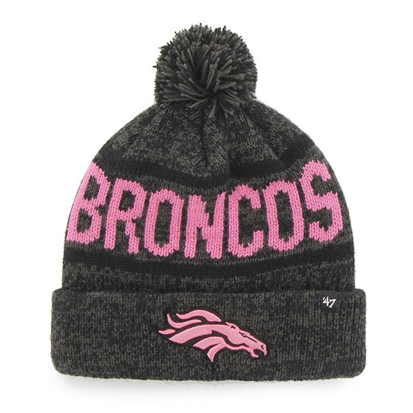 Denver Broncos Womens 47 Brand Pink Charcoal Beanie