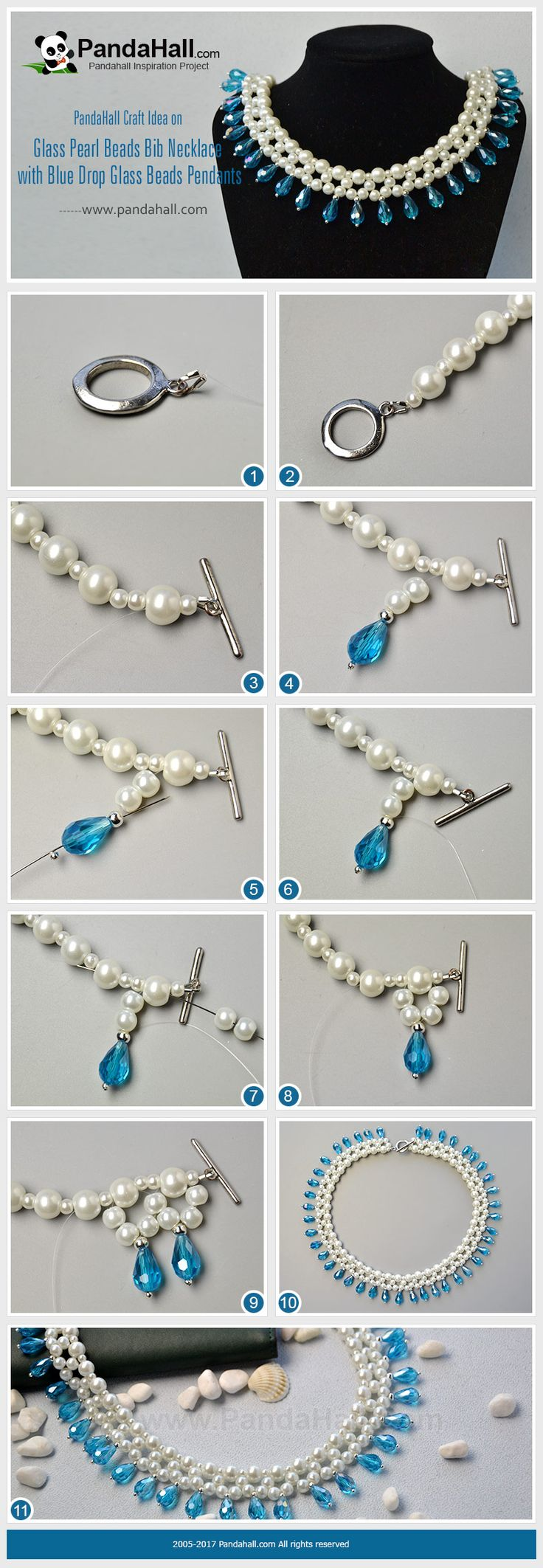PandaHall Inspiration Project----Glass #Pearl Beads Bib Necklace with Blue Drop Glass Beads Pendants Do you wanna a piece of elegant pearl necklace? Then you may be interested in today's craft on glass pearl beads bib necklace. #PandaHall #inspiration #jewelry #necklace #jewelrymaking #craft #tutorial #diy