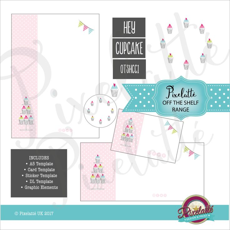 HEY CUPCAKE Stationery Templates and Clipart, Border, Flyer, A5, DL, Card, Cakes, Bunting, Invite, Menu, Sticker, Price List by PixelatteUK on Etsy