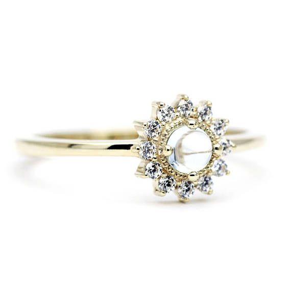 London Blue Topaz Ring Engagement Ring Blue Topaz RingGold