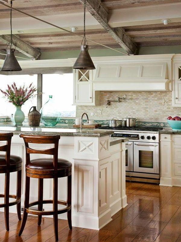 sol de bois cuisine vintage ilot  central blanc