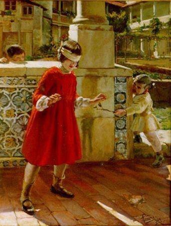 """A brincar se constrói a personalidade """"A brincar à cabra cega"""" José Malhoa- Caldas da Rainha"""