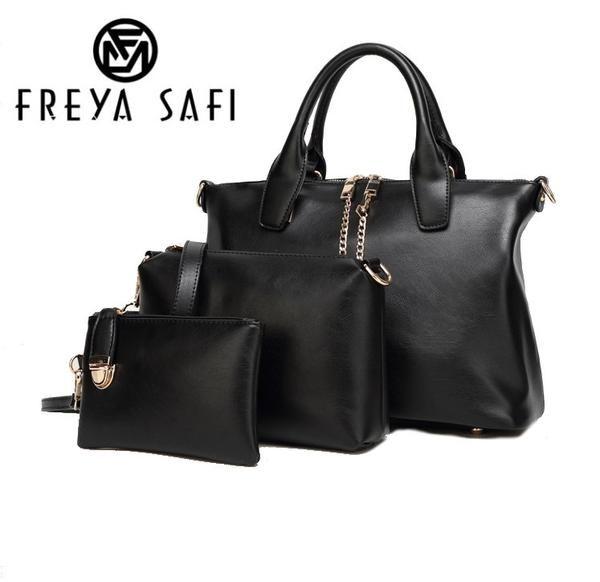 FREYA SAFI Designer Leather Handbags - 3 Pieces Set