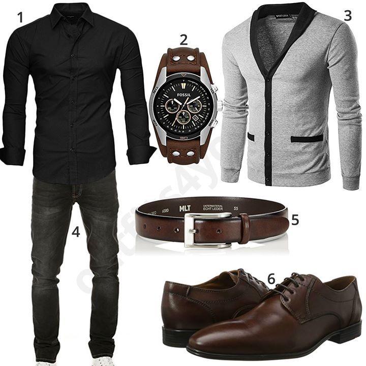 Schwarzes Kayhan Hemd, graue Whatlees Strickjacke, Yazubi Jeans, Fossil Armbanduhr, MLT Ledergürtel und Bugatti Business-Schuhe.