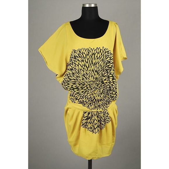 Yellow Night Out Dress, sz M, NWT, Relaxed fit Relaxed and lightweight this shirt dress has girly kimono sleeves and is cinched at the waist. It features a Flower Burst print. Can be worn as a dress or top. The pinkwell Dresses Mini