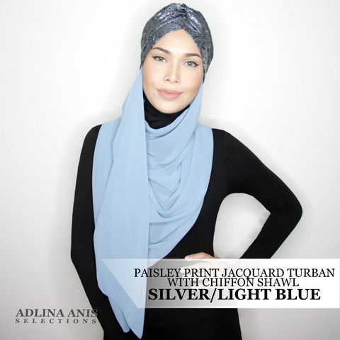 PAISLEY PRINT JACQUARD TURBAN WITH CHIFFON SHAWL - SILVER/LIGHT BLUE  $65.00 SGD  Limited Edition Slip-on Turban with attached shawl Size: Fits small to medium Note: Not advisable to use with a ninja  You'll find only the best hijabs / tudungs / scarves that are shipped worldwide.  Click through to the website to find out more.