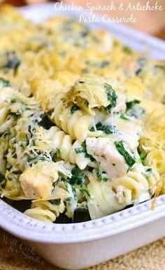 Chicken Spinach and Artichoke Pasta Casserole