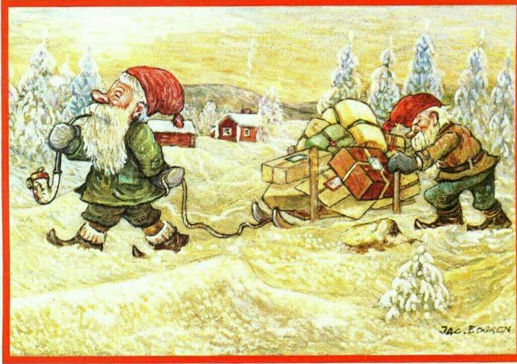 Julkort Jac Edgren 2 tomtar med kälke